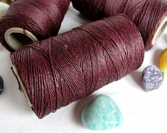 16,5 yards - 15 m. CHOCOLATE   waxed  linen thread, 3-Ply (1mm)