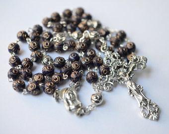 Cobalt Blue Czech Glass Catholic Rosary Necklace, Traditional 5 Decade Catholic Rosary