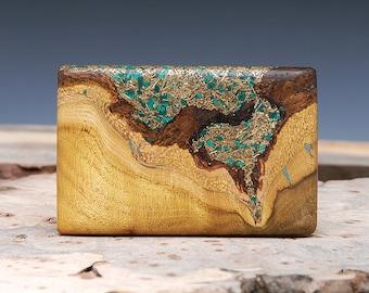 Exotic Wood, Brass & Malachite Inlaid Belt Buckle - Handmade