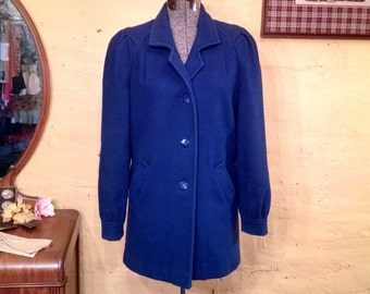 Vivid Cobalt Blue Wool Coat Jacket Puff Shoulders 70s S / M