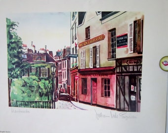 Vintage French Print Art Montmartre N.Y. Graphic Society Print Number 3734 Artist Signature Retro Print France Street Scene