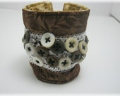 Steampunk Lace n Buttons Fabric Bracelet