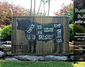 BUTCHER Shop Cuts Rustic Wood Sign / COW / 24 x 36 /Meat Cuts / Butcher Cuts / Butcher Diagram / Sign / Farm / Butcher / Reclaimed Wood Sign