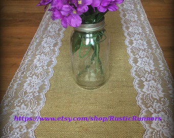 Rustic Country Charm Wedding Burlap Lace Table Runner Orchid lavender Lace for Rustic wedding, Shabby Chic table runner, Bridal party