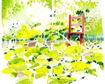 Landscape Art Print  -- Red Chair in Vegetable Garden