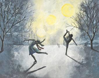 8x10 Art Print-Winter's Light-Ice Skater Art-Winter Art-Tree Art-Tree Painting-Dancer Painting