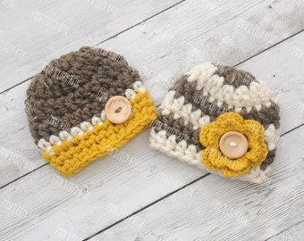 Twin hat set, newborn twins outfit, newborn photo prop, twins photo prop, girl and boy twins hat set, coming home outfit, crochet twin hats