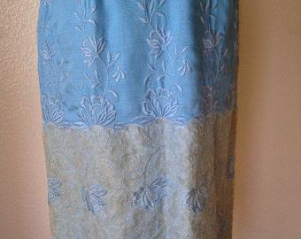 1950's vintage wiggle dress. pale robins egg blue unique lace hem