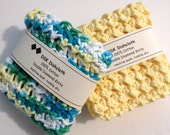 Dishcloths or Washcloths, set of 2, 100% cotton 'Sunny Day' crochet