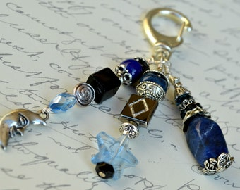 Blue and Black - Decorative Clip with Moon and Star