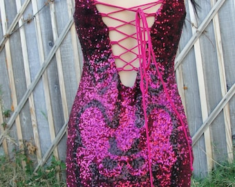 Upcycled pink sequin mini dress hand painted with skeletons size XS extra small 3 5 7 bebe day of the dead / halloween / dia de los muertos