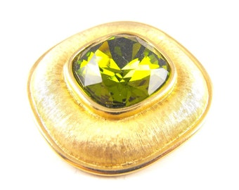 Weiss Brooch Pendant Convertible Huge Green Faceted Glass Classic 70s Mod Brushed Gold Tone