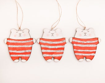 Bear Christmas Ornament Red Tree Decoration Cute Xmas Ornaments Candy Canes Tree Toys Wood decoration for Christmas tree
