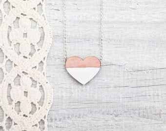 Wooden heart necklace, Pink white, Wooden Нeart