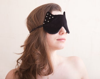 Cat Sleep Mask with the Stars Summer Party, Cat Lover Gift, Summer Outdoors