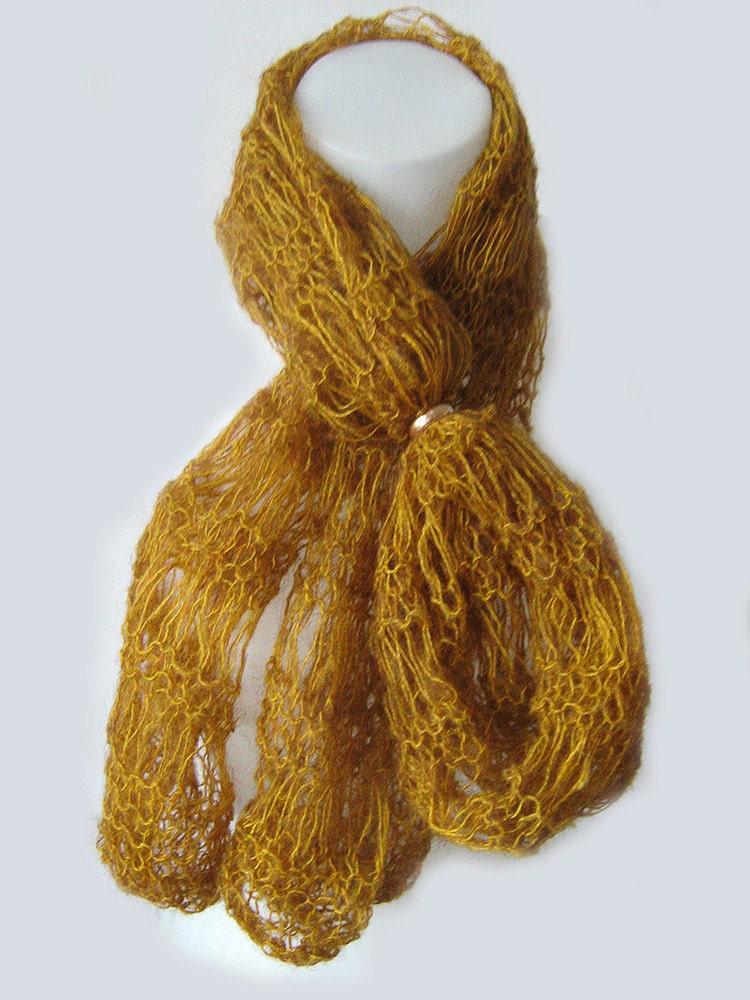 tibetan yak wool knit scarf unique authentic light