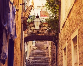 Travel decor, Croatia wall art Dubrovnik fine art photography, travel photo, vintage, view of old town street lamps, historical cityscape