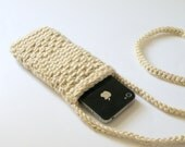 Crocheted Cell Phone Case with Long Neck Strap In Sand Beige, Mobile Cell Phone Holder with Strap, iPhone6, i5, i4 and others Phone Cover
