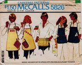 Vintage 1977 Unisex Barbeque & Carpenter Aprons, Potholder and Oven Mitt Craft Pattern, McCall's Carefree Pattern, Free US Shipping