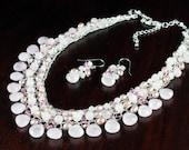 Rose Quartz Necklace, Silver Wire Crochet, rose gemstone, freshwater pearls, Swarovski crystals, statement, artisan, original, gift, NL2824