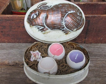 Easter Bunny Box, Easter Tin, Rabbit Tin, Easter Candle, Easter Gifts