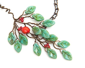 Orange Green Glass Leaf Beaded Necklace, Green Leaf Twig Necklace, Green Glass Leaf Necklace, Twig Jewelry, Nature Jewelry