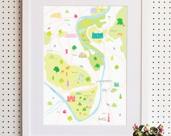 Map of Hampton Court & Surrounding Areas Print