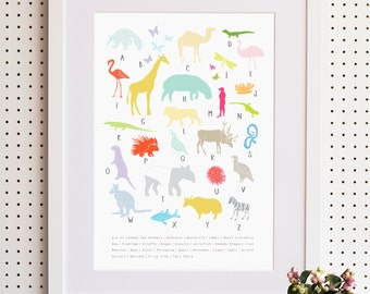 A To Z Animals London Zoo Print