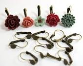 12 pcs Antique Bronze Lever Back Earring Hooks - 6mm glue pad for cabochons
