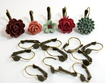 12 pcs Antique Bronze Lever Back Earring Hooks - 6mm glue pad for cabochons
