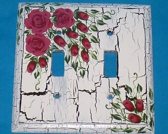 Custom Distressed Painted Light Switchplate Cover Decorative Wood Wall Cover Double Toggle Red Roses Shabby Chic White & Black