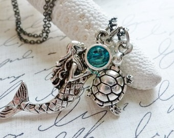 Mermaid Necklace / Sea Turtle / Under the Sea / Nautical / Beach Lover / SimplyJoli