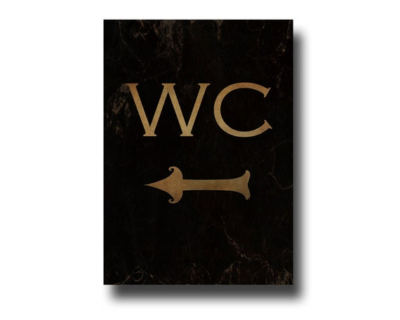 Water Closet Mini Canvas Water Closet Sign Left Arrow By