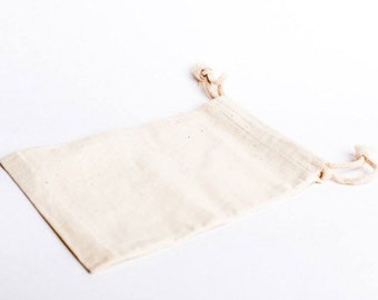 10 Cotton Muslin Bags 5x8 Inches