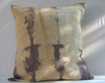 """Cotton & Linen blend Decorative Throw Pillow, Pillow cover, Shibori Pillow, 16"""" x 16"""", home decor, Cushion cover,"""