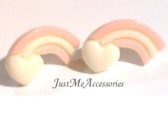 Cute Kawaii, Pastel Heart Rainbow-Yellow and Pink Post Earrings