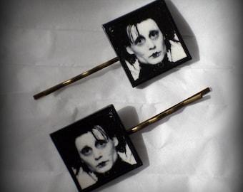Handmade Polymer Clay Edward Scissorhands Antique Bronze Bobby Pins Set