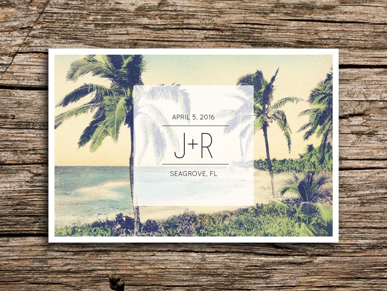 modern beach save the date postcard destination wedding