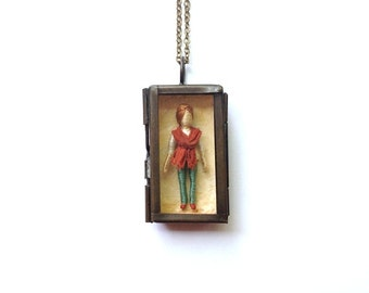 "Nora - ""Little Friend"" Miniature Shadowbox Pendant - Worry Doll"