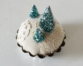 Woodland Winter Pincushion Nature Scene - Snow Covered Christmas Tree Forest Textile Art Sculpture - Rustic Christmas Holiday Decoration