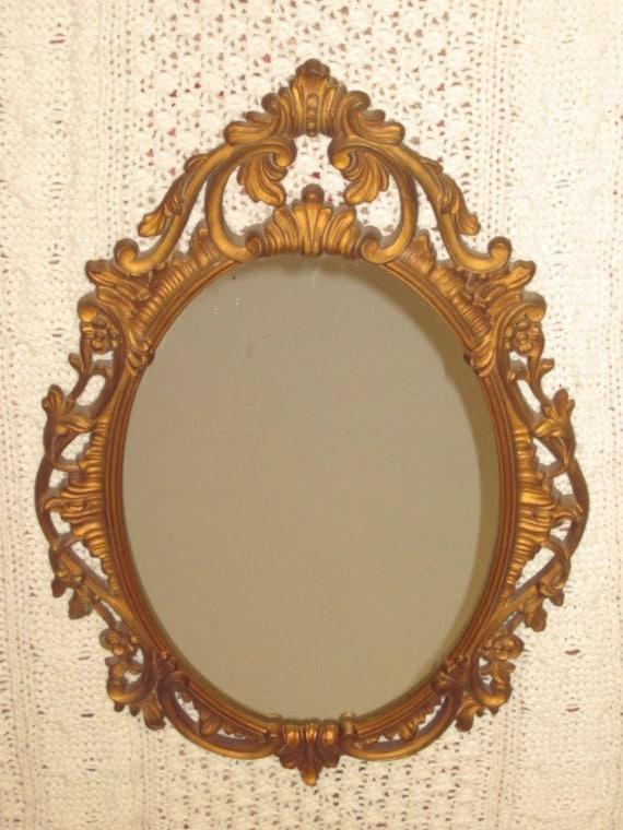 Vintage Ornate Gold Gilt Hanging Mirror