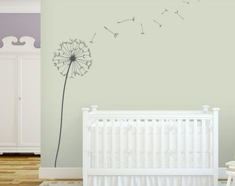 Dandelion Blowing in the Wind Wall Decal -Floral Vinyl Wall Decal, Nature Wall Decal, Dandelion Nursery, Blowing Dandelions, Dandelion Decal