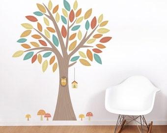 Owl in a Tree Printed Wall Decal-Nursery Tree Sticker, Owl Tree Decal, Nature Wall Decal, Tree Wall Sticker, Owl Wall Decor,Owl Tree Sticker