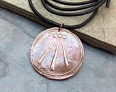 Awen pendant handmade copper on leather or cotton men's truth jewelry