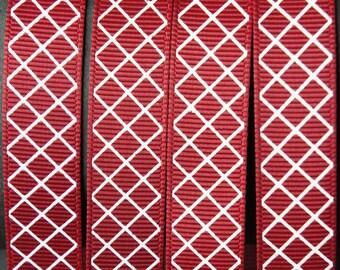"""10Yd White Diagonal Checker 5/8"""" Sherry Grosgrain Ribbon"""