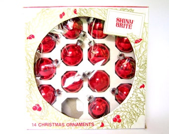 Vintage Shiny Bright Christmas Ornaments, Red Glass Balls in Original Box
