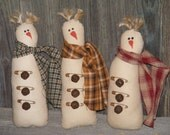 Primitive Snowman Bowl Fillers, Ornies, Tucks