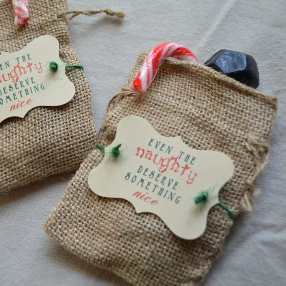Holiday Naughty treat bags, Santa Naughty list Christmas burlap gift bags North Pole Coal Burlap bag Candy coal bag Naughty or nice givt bag
