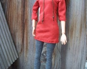 Orange Jersey Knit Top and Grey Leggings Outfit for Barbie