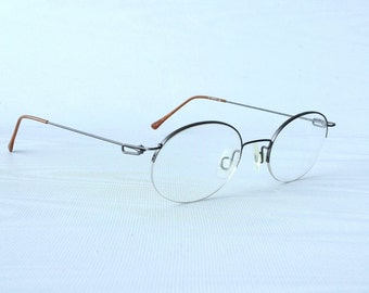 90's Oval Eyeglass Frames / Titanium Thin Wire Frames by CHARMANT Japan / Gun Metal Round Eyeglass Frames /  Vintage 90's Unisex Frames
